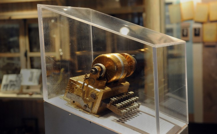 This cipher machine called the Hebern Electric Code Machine was invented by Edward Hebern of California around 1918.  It is made of solid brass and is on display at the National Cryptologic Museum.  (Barbara Haddock Taylor/Baltimore Sun)