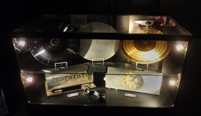 """This is a display of SIGSALY items at the National Cryptologic Museum. SIGSALY enabled the use of a random noise """"mask"""" to encrypt voice conversations.  It was a secure speech system used in World War II.  The recordings were then unscrambled on the receiving end.  (Barbara Haddock Taylor/Baltimore Sun)"""