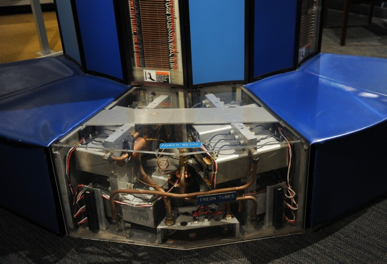 A Cray Research XMP 24, an early supercomputer that was used by the NSA from 1983-1993 is seen at the National Cryptologic Museum.  (Barbara Haddock Taylor/Baltimore Sun)