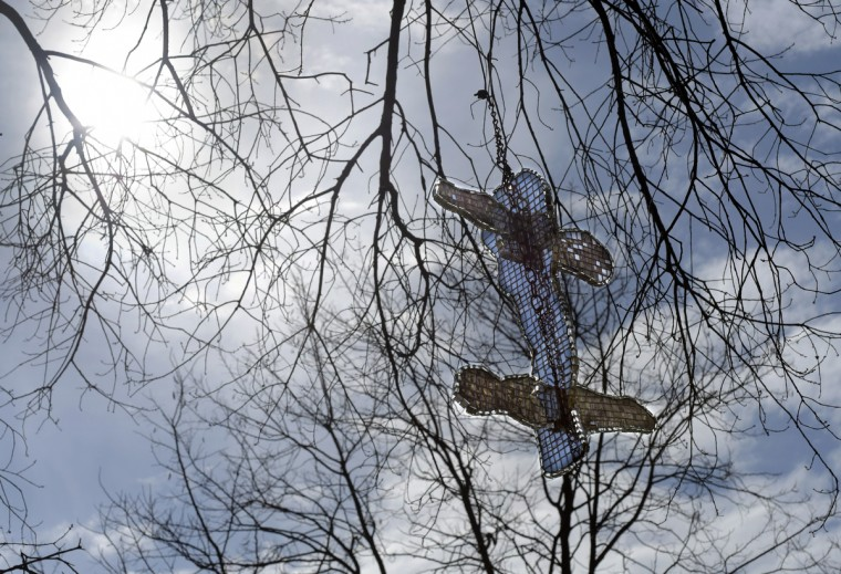 """From Outer Space,"" made with one-inch-square mirrors on a plastic base, sways from a tree limb in Bob Benson's yard. (Algerina Perna/Baltimore Sun)"