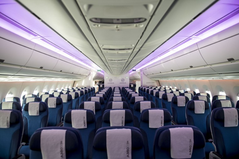 View of the cabin of the Airbus A350 during the XIX Air and Space Fair (FIDAE) in Santiago on March 29, 2016. (MARTIN BERNETTI/AFP/Getty Images)