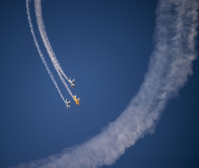 An Argentine aerobatic air wing performs during the XIX Air and Space Fair (FIDAE) in Santiago, on March 29, 2016. (MARTIN BERNETTI/AFP/Getty Images)