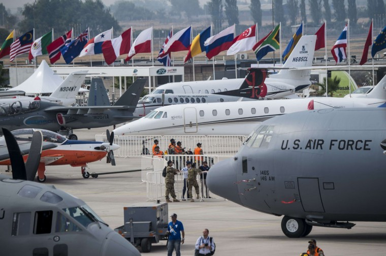 Diverse airplanes parked on the ramp during the XIX Air and Space Fair (FIDAE) in Santiago on March 28, 2016. (MARTIN BERNETTI/AFP/Getty Images)