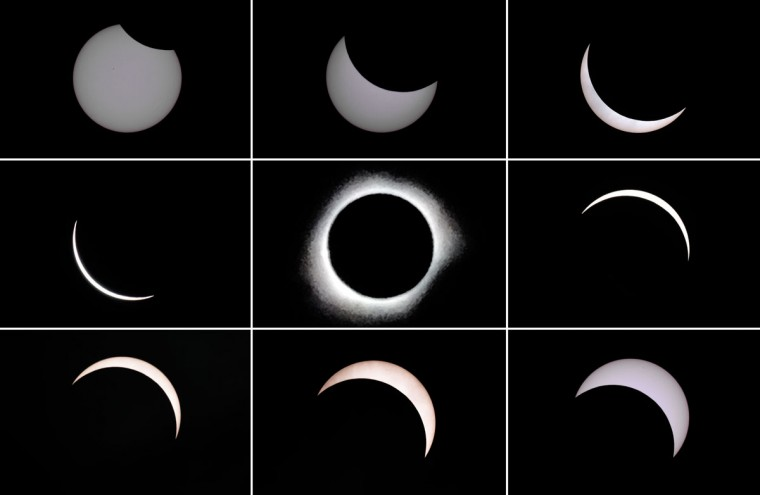 This photo combo shows the moon passing in front of the sun (top L to bottom R) during a total solar eclipse in the city of Ternate, in Indonesia's Maluku Islands, on March 9, 2016 (BAY ISMOYO/AFP/Getty Images)
