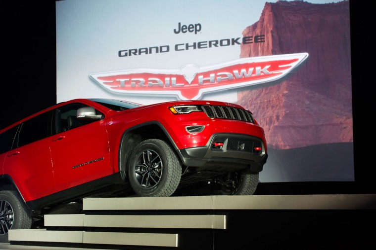 The Trailhawk version of the Jeep Grand Cherokee is introduce at the New York International Auto Show at the Javits Center on March 23, 2016 in New York City. Head of Jeep Brand Mike Manley introduced the Summit, a model built for luxury, as well as the Trailhawk, a model built for off-road use. (Photo by Bryan Thomas/Getty Images)