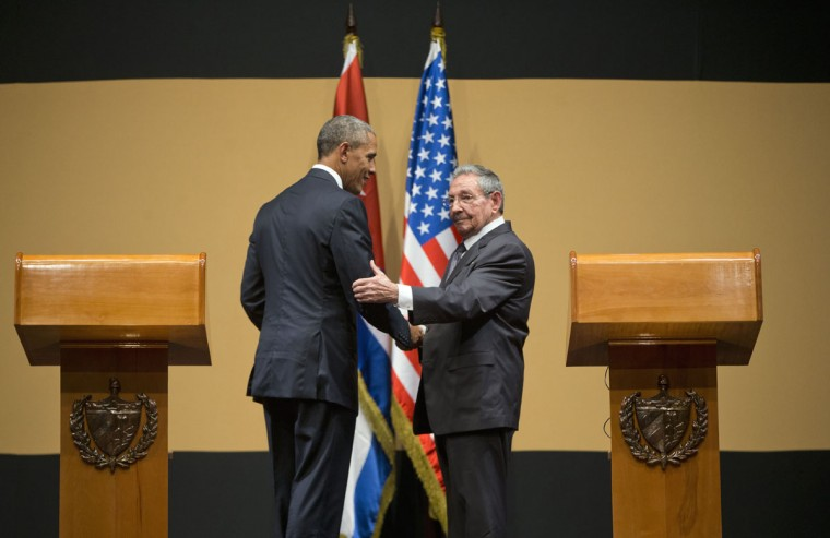 President Barack Obama walks with Cuban President Raul Castro following their joint news conference at the Palace of the Revolution, Monday, March 21, 2016 in Havana, Cuba. (AP Photo/Pablo Martinez Monsivais)