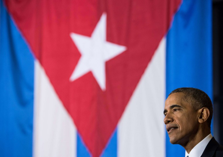 "US President Barack Obama speaks during an entrepreneurship panel discussion in Havana on March 21, 2016. Obama and his Cuban counterpart Raul Castro vowed Monday in Havana to set aside their differences in pursuit of what the US president called a ""new day"" for the long bitterly divided neighbors. (NICHOLAS KAMM/AFP/Getty Images)"