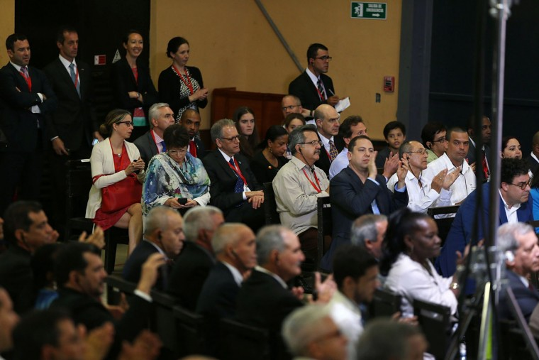 People listen as President Barack Obama takes part in an event focused on entrepreneurship and opportunity for the Cuban people at La Cervecera on March 21, 2016 in Havana, Cuba. Mr. Obama's visit is the first in nearly 90 years for a sitting president, the last one being Calvin Coolidge. (Photo by Joe Raedle/Getty Images)