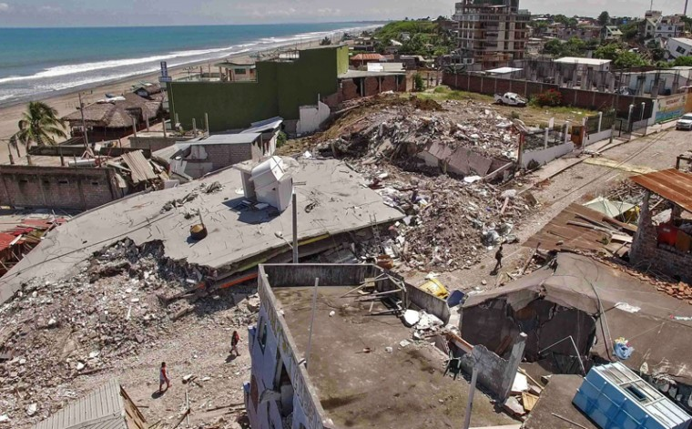 Aerial view of Pedernales, one of Ecuador's worst-hit towns, taken on Tuesday, three days after a 7.8-magnitude quake hit the country. (PABLO COZZAGLIO/AFP/Getty Images)