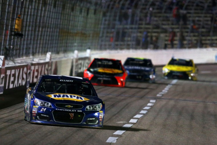 FORT WORTH, TEXAS - APRIL 09: Chase Elliott, driver of the #24 NAPA Auto Parts Chevrolet, leads a pack of cars during the NASCAR Sprint Cup Series Duck Commander 500 at Texas Motor Speedway on April 9, 2016 in Fort Worth, Texas. (Photo by Sarah Crabill/Getty Images for Texas Motor Speedway)