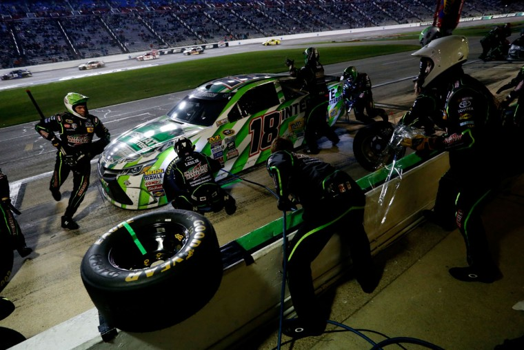 FORT WORTH, TEXAS - APRIL 09: Kyle Busch, driver of the #18 Interstate Batteries Toyota, pits during the NASCAR Sprint Cup Series Duck Commander 500 at Texas Motor Speedway on April 9, 2016 in Fort Worth, Texas. (Photo by Brian Lawdermilk/Getty Images)