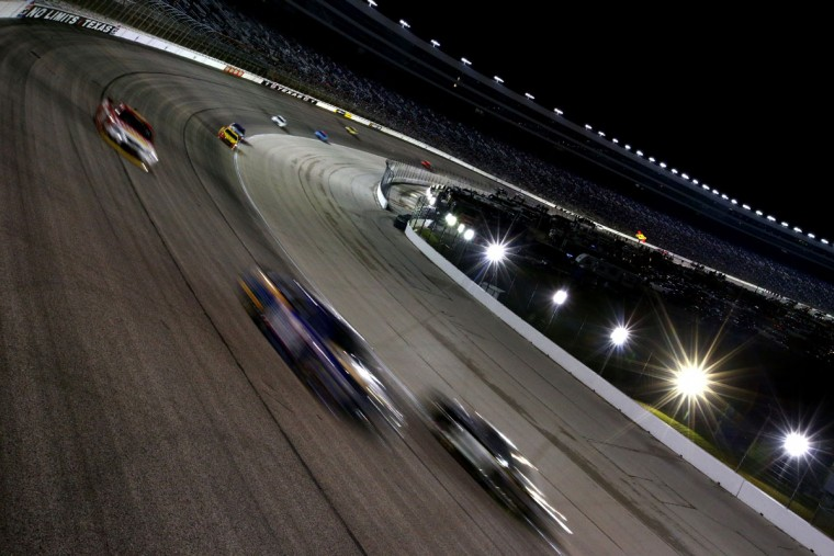 FORT WORTH, TEXAS - APRIL 09: Cars race during the NASCAR Sprint Cup Series Duck Commander 500 at Texas Motor Speedway on April 9, 2016 in Fort Worth, Texas. (Photo by Sarah Crabill/Getty Images for Texas Motor Speedway)