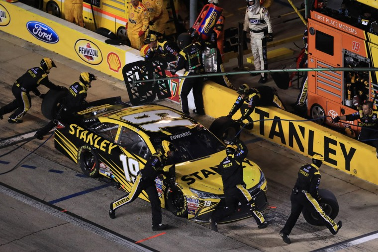 FORT WORTH, TEXAS - APRIL 09: Carl Edwards, driver of the #19 Stanley Toyota, pits during the NASCAR Sprint Cup Series Duck Commander 500 at Texas Motor Speedway on April 9, 2016 in Fort Worth, Texas. (Photo by Tom Pennington/Getty Images)