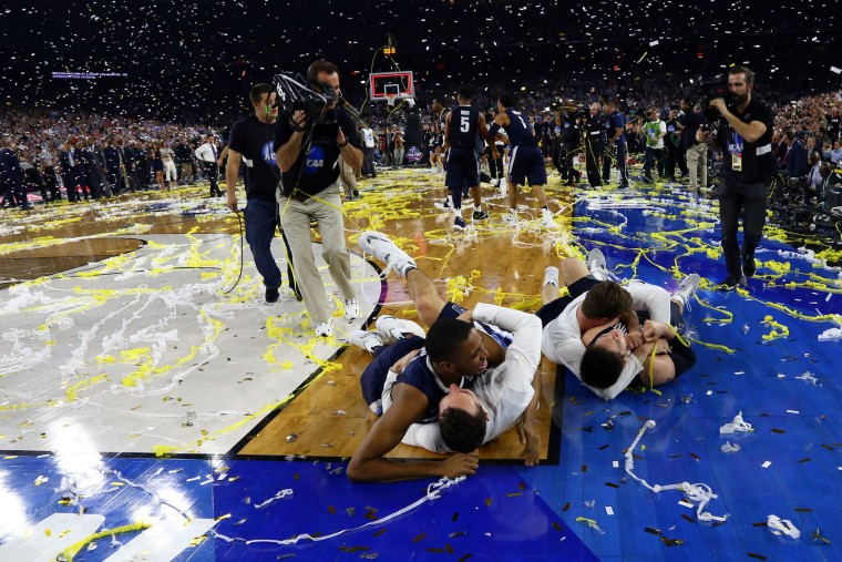 The Villanova Wildcats celebrate defeating the North Carolina Tar Heels 77-74 to win the 2016 NCAA Men's Final Four National Championship game at NRG Stadium on April 4, 2016 in Houston, Texas. (Photo by Ronald Martinez/Getty Images)