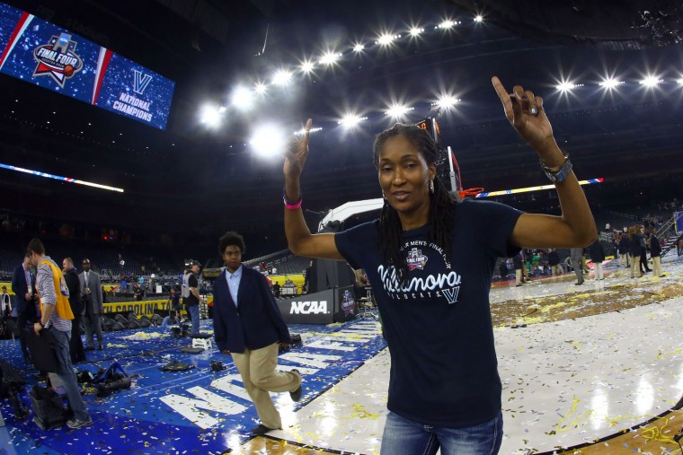 Felicia Jenkins, mother of Kris Jenkins #2 of the Villanova Wildcats, celebrates after the Villanova Wildcats defeated the North Carolina Tar Heels 77-74 to win the 2016 NCAA Men's Final Four National Championship game at NRG Stadium on April 4, 2016 in Houston, Texas. (Photo by Ronald Martinez/Getty Images)