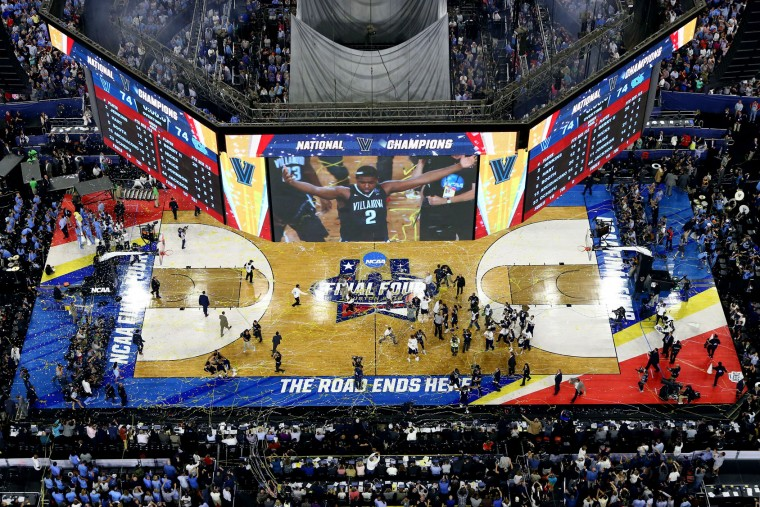A general view as the Villanova Wildcats celebrate defeating the North Carolina Tar Heels 77-74 to win the 2016 NCAA Men's Final Four National Championship game at NRG Stadium on April 4, 2016 in Houston, Texas. (Photo by Ronald Martinez/Getty Images)