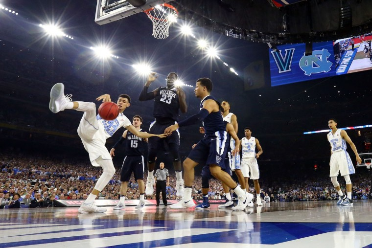 Justin Jackson #44 of the North Carolina Tar Heels rebounds the ball against Daniel Ochefu #23 of the Villanova Wildcats during the 2016 NCAA Men's Final Four National Championship game at NRG Stadium on April 4, 2016 in Houston, Texas. (Photo by Ronald Martinez/Getty Images)