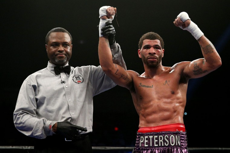 WASHINGTON, DC - APRIL 01: Anthony Peterson (R) celebrates after defeating Samuel Neequaye (not pictured) in their lightweights bout at the DC Armory on April 1, 2016 in Washington, DC. (Photo by Patrick Smith/Getty Images)