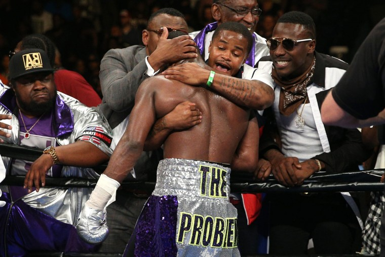 WASHINGTON, DC - APRIL 01: Adrien Broner celebrates after defeating Ashley Theophane (not pictured) by TKO in ninth round in their super lightweight championship bout at the DC Armory on April 1, 2016 in Washington, DC. (Photo by Patrick Smith/Getty Images)