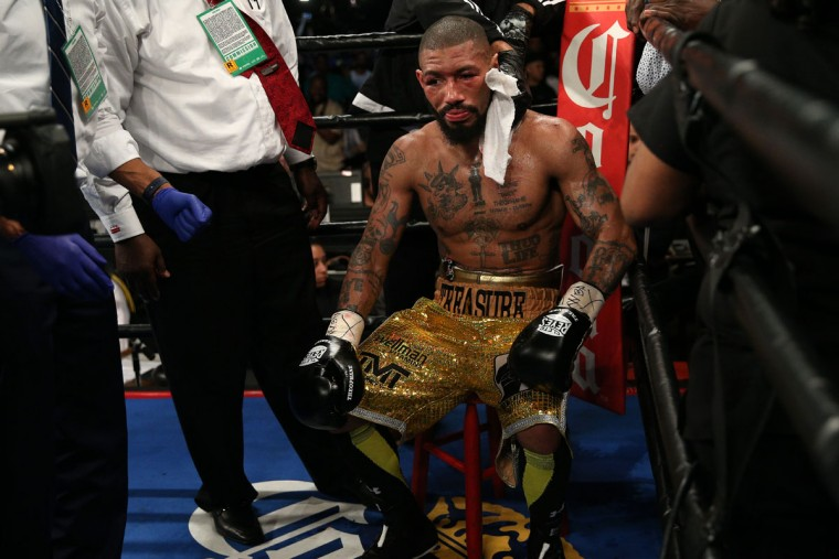 WASHINGTON, DC - APRIL 01: Ashley Theophane looks on after being defeated by TKO in the ninth round by Adrien Broner in their super lightweight championship bout at the DC Armory on April 1, 2016 in Washington, DC. (Photo by Patrick Smith/Getty Images)