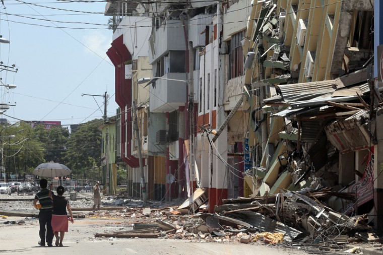 Collapsed buildings in Portoviejo, Ecuador, on Tuesday. (JUAN CEVALLOS/AFP/Getty Images)