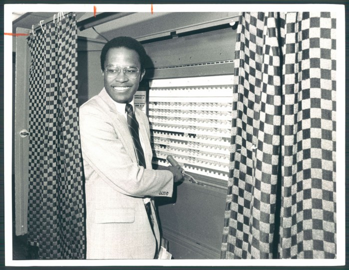 Kurt Schmoke voting in Mt. Washington, 1982.