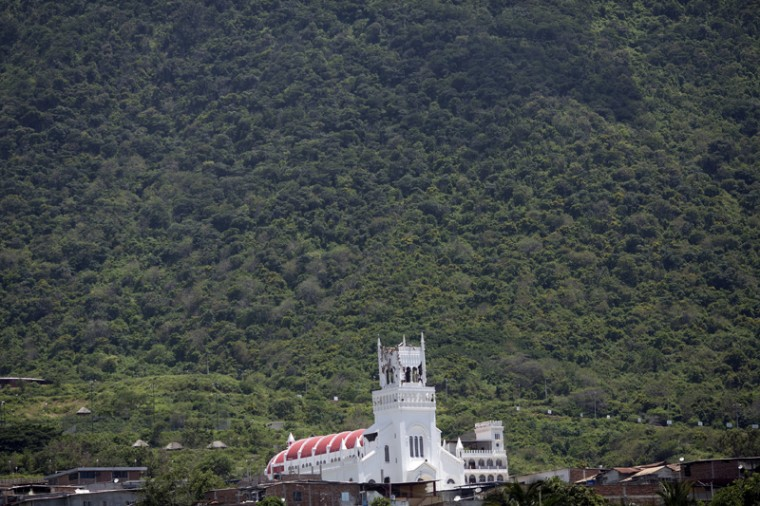 The earthquake damaged Basilica de Monserrate stands in Montecristi, Ecuador, seen here on Tuesday. (Rodrigo Abd/AP)