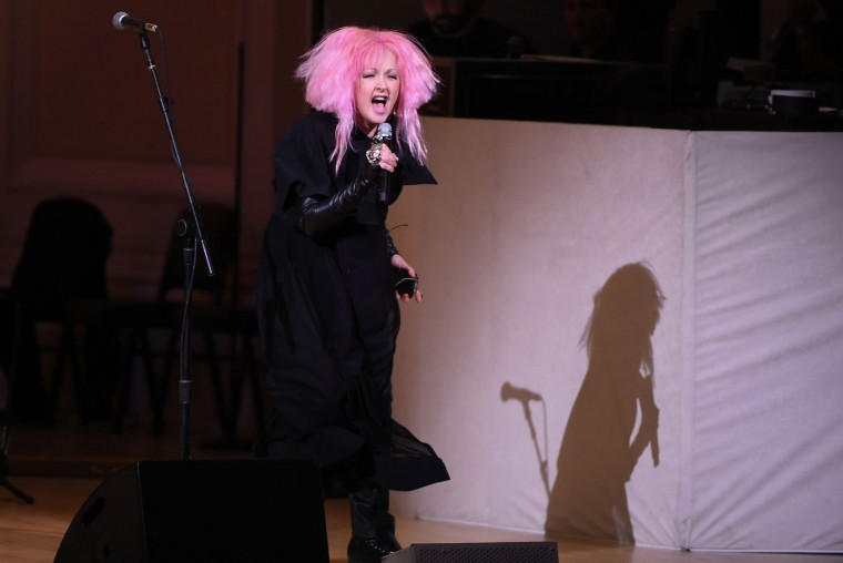 Singer Cyndi Lauper performs at The Music of David Bowie tribute concert at Carnegie Hall on Thursday, March, 31, 2016, in New York. (Photo by Evan Agostini/Invision/AP)