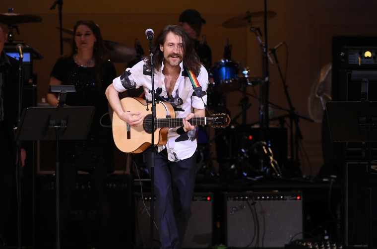 Eugene Hutz of Gogol Bordello performs at The Music of David Bowie tribute concert at Carnegie Hall on Thursday, March, 31, 2016, in New York. (Photo by Evan Agostini/Invision/AP)