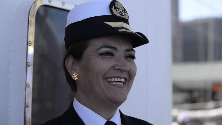 One of the captains of the training ship smiles while talking to reporters. (Christina Tkacik/Baltimore Sun)