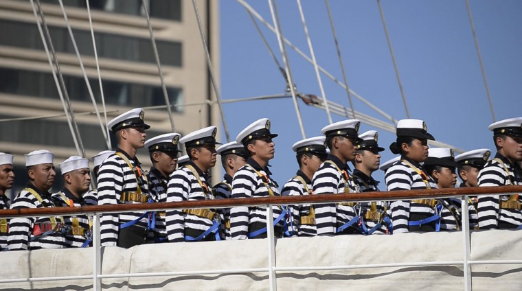 Marineros stand in formation on board the Mexican Navy's Cuauhtemoc training ship, which arrived in Baltimore's Inner Harbor Saturday, April 23. The ship will be docked in Baltimore until April 27, when she will set sail for New England. (Christina Tkacik/Baltimore Sun)