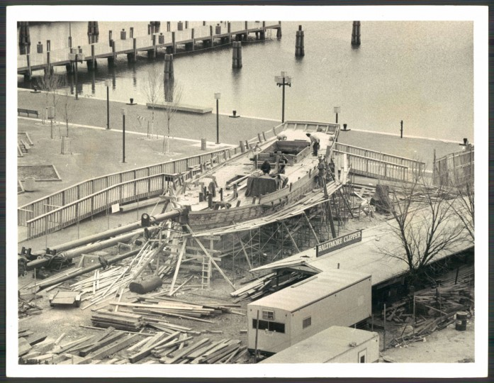 CAPTION: Work is progressing on the Baltimore clipper ship which is rising at the Inner Harbor.