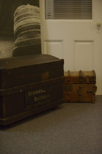 A steam trunk at the Immigration Museum bears the name of the Bremen-Baltimore line, which carried ships from the German port city to the United States. (Christina Tkacik/Baltimore Sun)