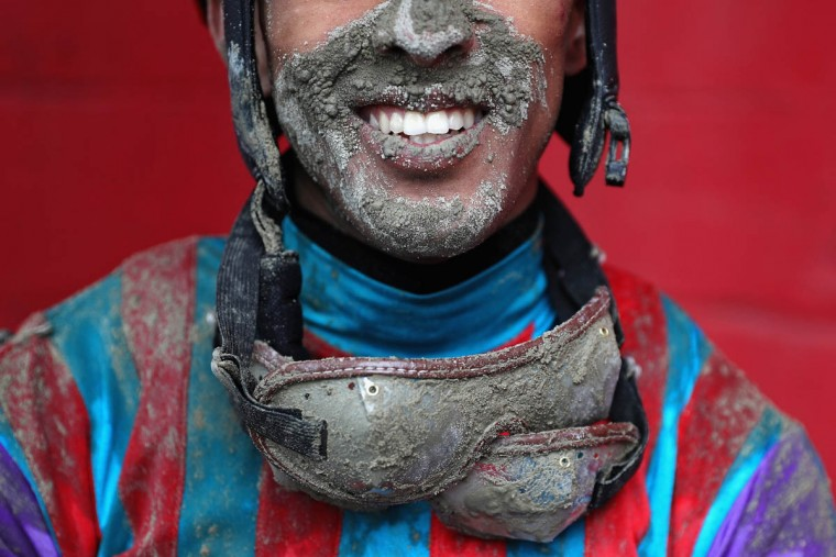 Jockey Victor Carrasco poses for a portrait after jockeying Never Stop Looking in The 2nd Running of the Old Bay Race prior to the 141st running of the Preakness Stakes at Pimlico Race Course on May 21, 2016 in Baltimore, Maryland. (Photo by Patrick Smith/Getty Images)