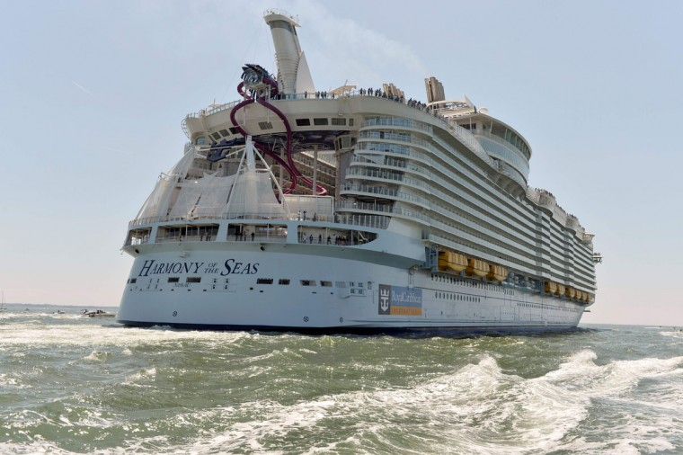 A photo taken on May 15, 2016 shows the Harmony of the Seas cruise ship as it sails from the STX Saint-Nazaire shipyard, western France out to sea. (JEAN-FRANCOIS MONIER/AFP/Getty Images)