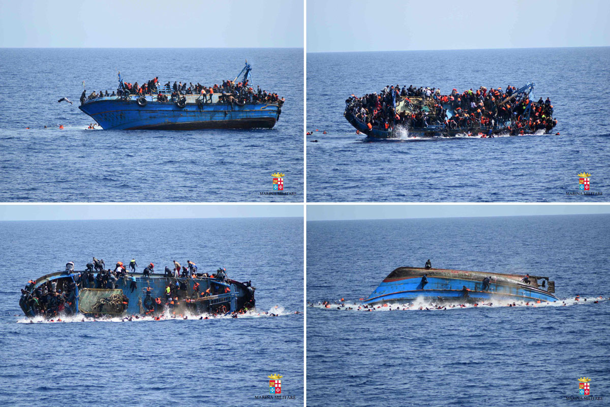 Italian navy rescues capsized migrant ship