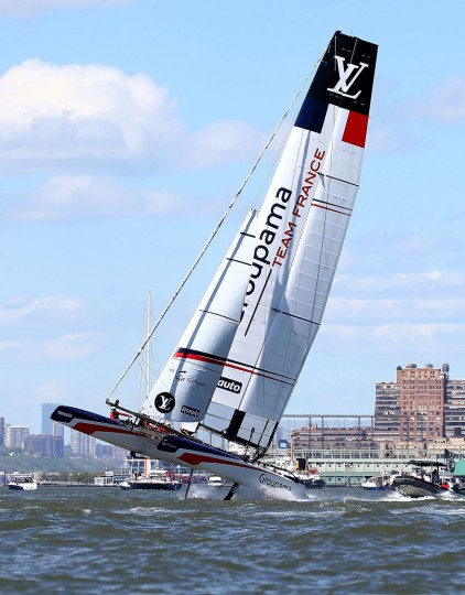 Groupama Team France competes during Day 2 of the Louis Vuitton America's Cup World Series Racing on May 8, 2016 on the Hudson River in New York City.Teams from six nations are competing for points that go toward the America's Cup final in Bermuda in 2017. (Photo by Elsa/Getty Images)
