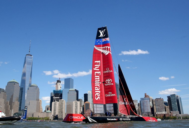 Emirates Team New Zealand sails the course during Day 2 of the Louis Vuitton America's Cup World Series Racing on May 8, 2016 on the Hudson River in New York City. Teams from six nations are competing for points that go toward the America's Cup final in Bermuda in 2017. (Photo by Elsa/Getty Images)