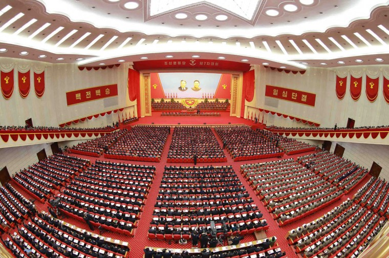 This photo taken on May 7, 2016 and released on May 8 by North Korea's official Korean Central News Agency (KCNA) shows the second-day of the 7th Workers Party Congress at the 'April 25 Palace' in Pyongyang. (AFP PHOTO / KCNA / KCNAKCNA/AFP/Getty Images)