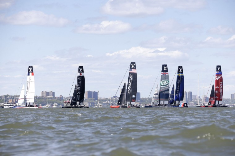 Sailboats line up for the start of Race 2 at the America's Cup World Series sailing event in New York, Sunday, May 8, 2016. Emirates Team New Zealand won the N.Y. event. (AP Photo/Seth Wenig)