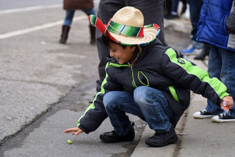 Marco Hernandez, 5 of Detroit, grabs for a piece a candy thrown out during the 52nd annual Cinco de Mayo parade Sunday, May, 1, 2016, in Detroit's Southwest community. Cinco de Mayo commemorates the May 5, 1862 defeat of the invading French army by Mexican forces at Puebla. (Tanya Moutzalias/The Ann Arbor News via AP)
