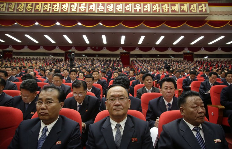 Party representatives sit in the hall of the April 25 House of Culture during the party congress in Pyongyang, North Korea, Monday, May 9, 2016. North Korea has brought in more than 100 journalists from around the world to make sure that the 7th Congress of its ruling Workers' Party gets global attention. Four days into the event, they allowed a small number of foreign journalists into the conventional hall where the congress was taking place. (AP Photo/Wong Maye-E)