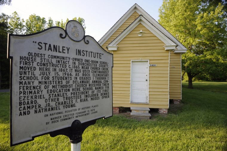 "Stanley Institute, built in 1865 was moved to this site two years later. The one-room schoolhouse, on the National Register of Historic Places, was used until 1962. This site is on the tour in connection to what was called the ""Stampede of Slaves"" when 28 enslaved men, women and children escaped from slave quarters in 1857. (Kim Hairston/Baltimore Sun)"