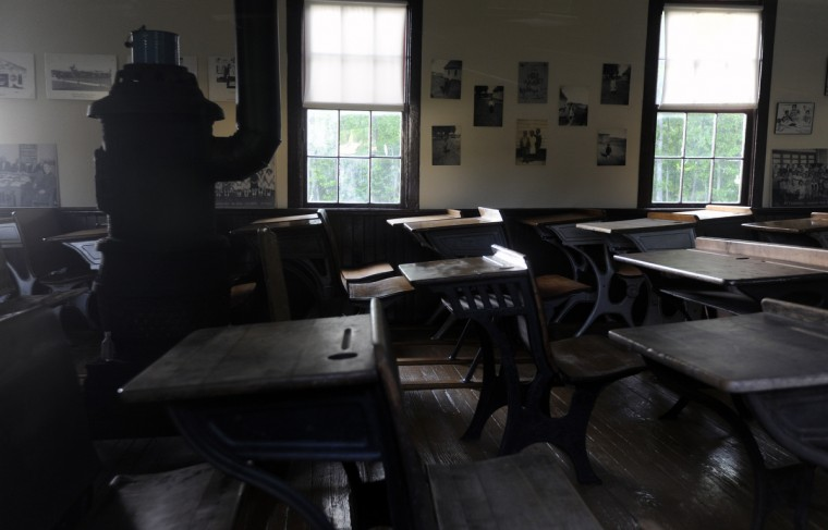 A view through the windows of the Stanley Institute. The one-room schoolhouse, on the National Register of Historic Places, was used until 1962. (Kim Hairston/Baltimore Sun)