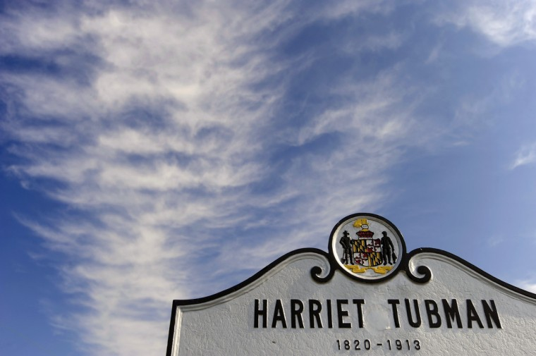 "A marker on the historic Brodess Farm in Bucktown shows where Harriet Tubman grew up in slavery with her mother, Harriet ""Rit"" Green, and siblings. (Kim Hairston/Baltimore Sun)"