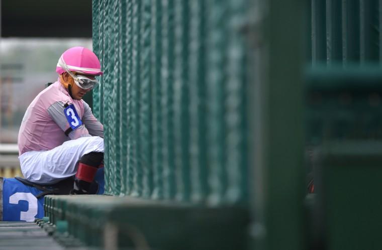 Nik Juarez enters the starting gate at Pimlico race course aboard Saint Abbey. (Lloyd Fox/Baltimore Sun)