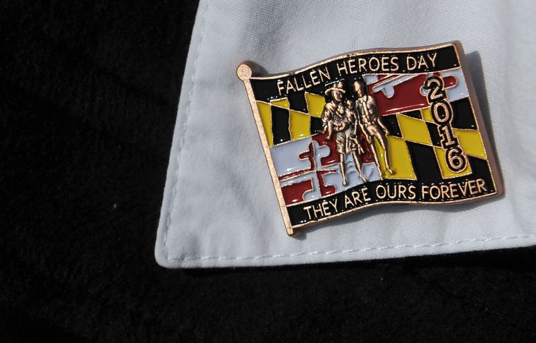 The 2016 Fallen Heroes Day pin. It belongs to Karen Nizer, a retired Baltimore County police officer. (Barbara Haddock Taylor/Baltimore Sun)