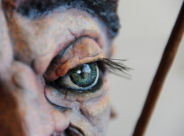 "This is a detail of an eye in a sculpted figure called ""The Cat Herder,"" made by Tiffany Lange, founder of Charm City Puppets.  She works out of a studio in the Creative Alliance at the Patterson. (Barbara Haddock Taylor/Baltimore Sun)"