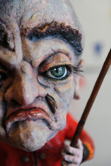 "This is a detail from a  figure called ""The Cat Herder,"" made by Tiffany Lange, founder of Charm City Puppets. He is made of foam, papier-mache and clay sculpting compound.  She works out of a studio in the Creative Alliance at the Patterson. (Barbara Haddock Taylor/Baltimore Sun)"