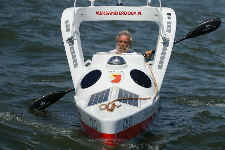 "Polish kayaker Aleksander Doba sails at the start of his translatlantic kayak adventure from New York to Lisbon on May 29, 2016 in New York. Doba says this will be his toughest challenge yet, but that he feels like a young man and ""will not pretend to be old."" (EDUARDO MUNOZ ALVAREZ/AFP/Getty Images)"